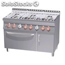 Kitchen gas water-mod. cfa6/712gpv-# 6 burners-gas oven gn solid state 2/1-# 1