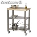 Kitchen trolley - mod. 692700 auxilium - made from stainless steel - white edge