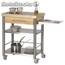 Kitchen trolley - mod. 692701 auxilium - made from stainless steel - white edge