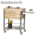 Kitchen trolley - mod. 692702 auxilium - made from stainless steel - white edge