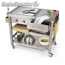 Kitchen trolley - mod. 697110 teppan yaki - made from stainless steel mod 697110