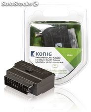 König Adaptador conmutable de SCART macho a 3x RCA + S-Video hembra, en color
