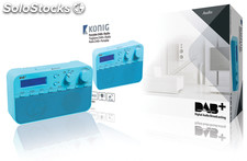 König Radio DAB+ con audio digital, 20 presintonías y despertador en color azul