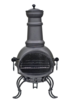 La Hacienda Murcia Medium Black Steel Chiminea with Grill