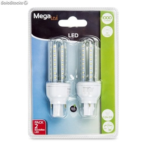 Lampara Led Tubo 2 Pins G24 10W 880Lm 4000K Megaled 2 Pz