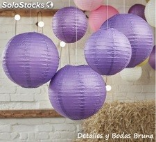 Lamparas de papel Morado. Lamparas decorativas boda, comunion, candy bar