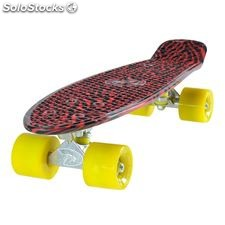 "Land Surfer Cruiser Skateboard 22"" black and red zebra board solid yellow wheels"