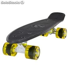 "Land Surfer Cruiser Skateboard 22"" black board transparent yellow wheels"