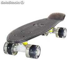 "Land Surfer Cruiser Skateboard 22"" clear black board led black wheels"