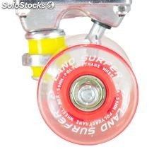 "Land Surfer Cruiser Skateboard 22"" clear red board led red wheels"