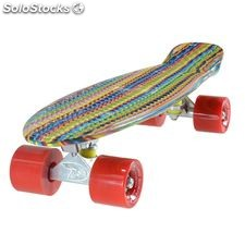 "Land Surfer Cruiser Skateboard 22"" Multicoloured stripe board solid red wheels"