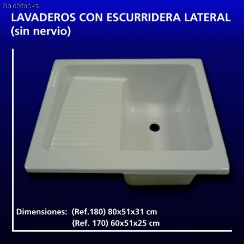 Lavadero fregadero con escurridera lateral dimensiones for Lavadero para patio
