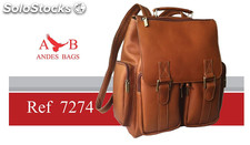 Leather backpack. Morral en cuero andes bags. Laptop backpack.