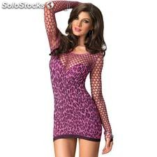 Leg avenue mini vestido leopardo fucsia - leg avenue - leather - 714718504919 -