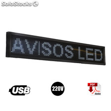 Letrero Led Programable blanco 20 x100 cm