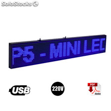 Letrero Programable Led 165 x 20 cm color Azul