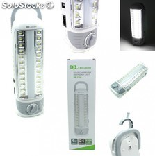 Linterna led bateria con recargable luz de emergencia 24 led 4 w