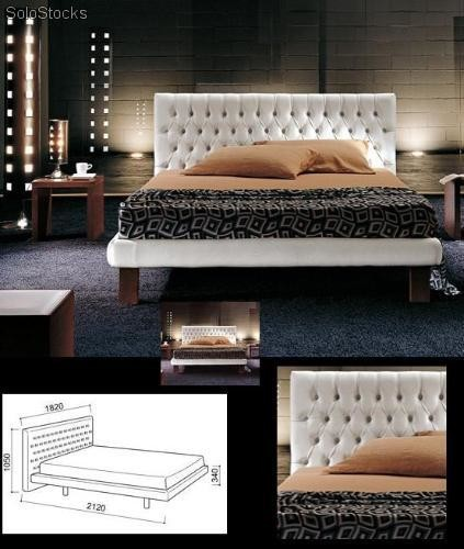 lit cuir perla. Black Bedroom Furniture Sets. Home Design Ideas