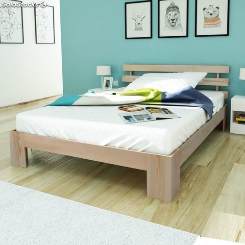 lit en bois lit en bois de pin massif naturel 200 x 140 cm. Black Bedroom Furniture Sets. Home Design Ideas