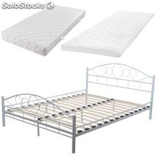 lit en m tal lit en m tal blanc 180 cm avec matelas et surmatelas m moire produits france. Black Bedroom Furniture Sets. Home Design Ideas