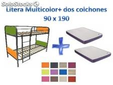 Litera metálica multicolor y 2 colchones visco fénix-junior 90x190