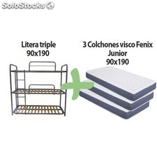 Litera metálica triple y 3 colchones visco fénix-junior 90x200