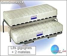 Lits Gigognes + 2 matelas -double couchage . Pack complet