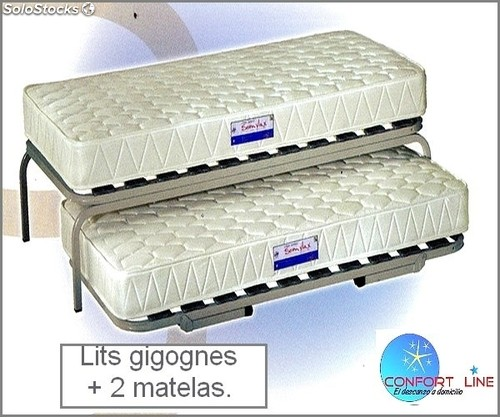 lits gigognes 2 matelas double couchage pack complet. Black Bedroom Furniture Sets. Home Design Ideas