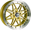 "Llanta Calibre Eclipse 7x15"" Gold/Polished Lip 4x100 ET38"