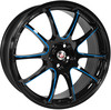 "Llanta Calibre Friction Blue 7x17"" Black/Candy Blue Ball Polished 4x100~4x108"