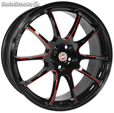 "Llanta Calibre Friction Red 7x17"" Black/Candy Red Ball Polished 4x100~4x108 ET40"