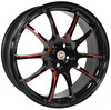 "Llanta Calibre Friction Red 8x19"" Black/Candy Red Ball Polished 5x100 ET45"