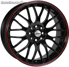 "Llanta Calibre Motion Black 6.5x15"" Black/Red Pinstripe 4x100~4x108 ET38"