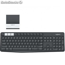Logitech - K375s RF Wireless + Bluetooth QWERTY Español Grafito, Color blanco