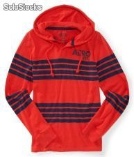 Long Sleeve Aero nyc Striped Hooded Henley