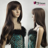 Long smooth brown wig with bangs
