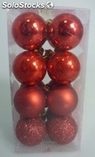 Lot de 16 boules 4CM rouge