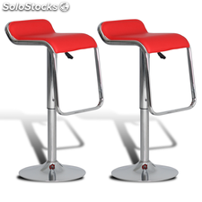 Lot de 2 tabourets de bar rouges pivotants et ajustables en hauteur