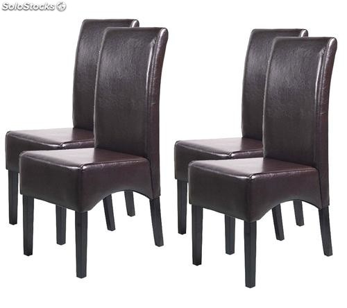 Lote 4 sillas de comedor latina en piel marr n chocolate for Sillas comedor marron chocolate
