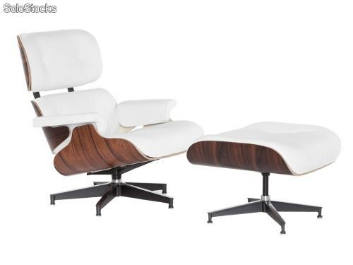 Lounge Chair Eames con ottoman blanco