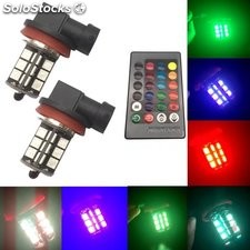 Luz antiniebla delantera LED 7 colores control remoto 9005 9006 27 flash LED RGB