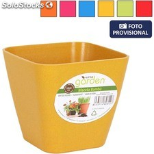 Maceta bambu 12X11 cm - colores surtidos - little garden - 8433774608127 -