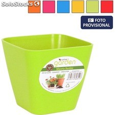 Maceta bambu 8.5X8.5 cm - colores surtidos - little garden - 8433774608103 -