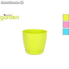 Maceta c/plato 14CM little garden - 3 colores surtidos - little garden -