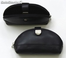 Make Up Pouch Black Cowhide Nappa Leather