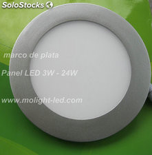marco de plata Panel LED 18W silver frame round LED Panel 220V CE RoHS