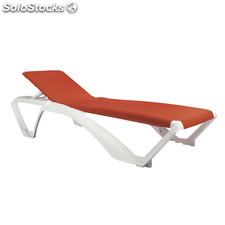 Marina sunlounger white, orange textilene