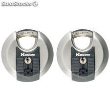 Master Lock Candado redondo Excell 2 uds acero inoxidable 70mm M40EURT