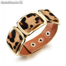 Mayor Brazalete ajustable de piel de leopardo con tri-fasteners de China