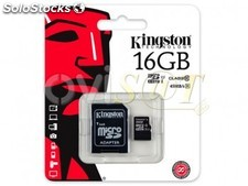 Memoria micro SDHC Kingston 16Gb clase 10 alta velocidad SDC10G2/16GB (adaptador